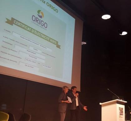 Origo remet les garanties d'origine à la Communauté Urbaine de Saint-Etienne Métropole.