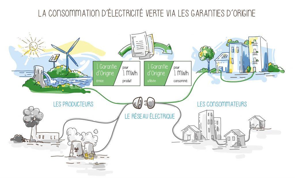 La consommation d'électricité verte via les garanties d'origine