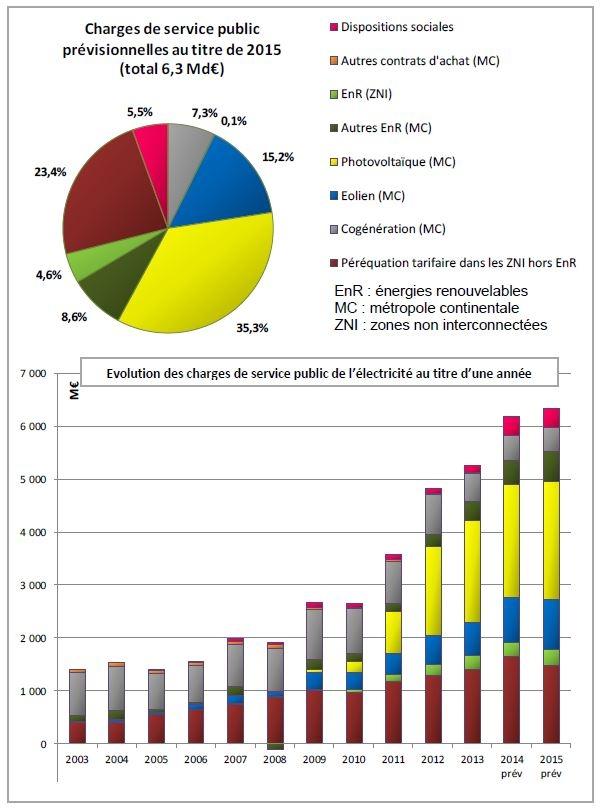 Évolution des charges de service public de l'électricité au titre d'une année